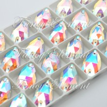 Glass Teardrop (3230) Clear AB (All Size) Sew On Rhinestones