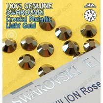 Genuine Swarovski (Hotfix/ No-Hotfix) Crystal Metallic Light Gold (MLGLD) Flatback Rhinestones