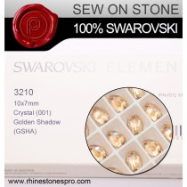 Swarovski Rivoli (3210) Crystal Golden Shadow F (001 GSHA) Crystal