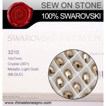 Swarovski Rivoli (3210) Metallic Light Gold F (001 MLGLD) Crystal
