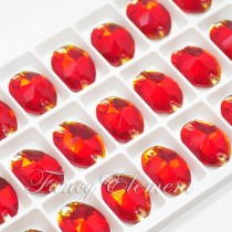 Glass Oval (3210) Siam Red (All Size) Sew On Rhinestones