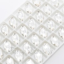 Glass Navette (3223) Clear (All Size) Sew On Rhinestones