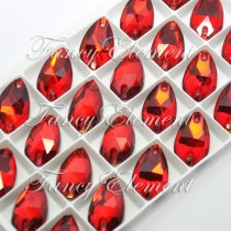 Glass Teardrop (3230) Siam Red (All Size) Sew On Rhinestones