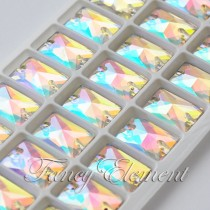 Glass Rectangle (3250) Clear AB (All Size) Sew On Rhinestones