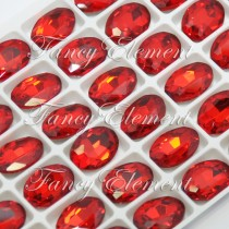 Glass Oval (4128) Siam Red (All Size) Fancy Stone